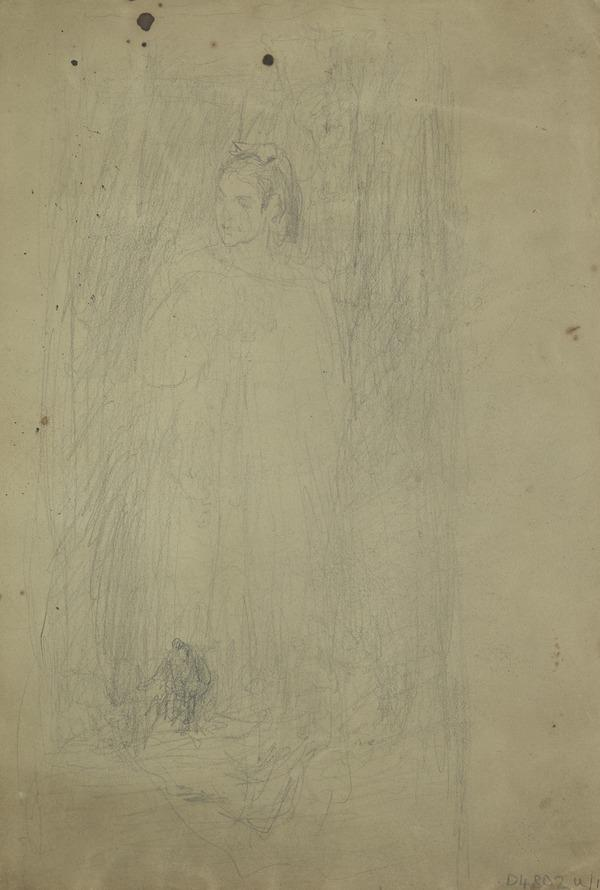 Study for the Painting 'The Artist's Wife (Ellen Moxon, Lady Orchardson, c 1854 - 1917)' [Verso: A Monk on a Balcony] (About 1872)