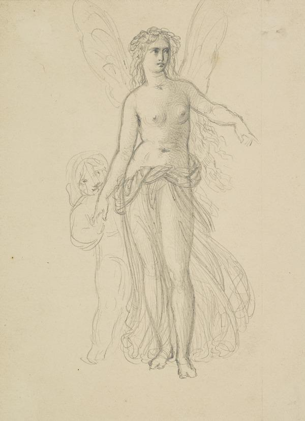 Titania. Study for the Painting 'The Quarrel of Oberon and Titania' [Verso: Study for the Painting 'Silenus Surprised by Aegle'] (About 1848)