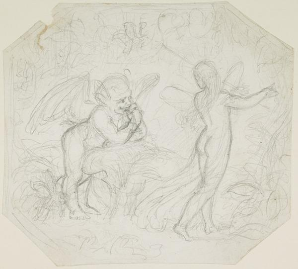 Possibly a Compositional Study for the Painting 'Puck and the Fairy' (About 1847)
