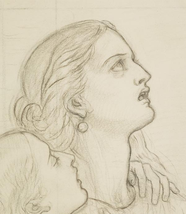 Two Heads. Study for the Painting 'In Memoriam' (About 1857)