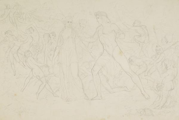 Compositional Study for the Painting 'The Quarrel of Oberon and Titania' (About 1848)