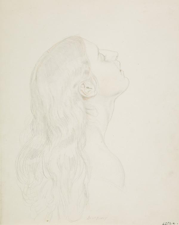 The Head of a Girl. Study for the Painting 'In Memoriam' (Dated December 7, 1857)