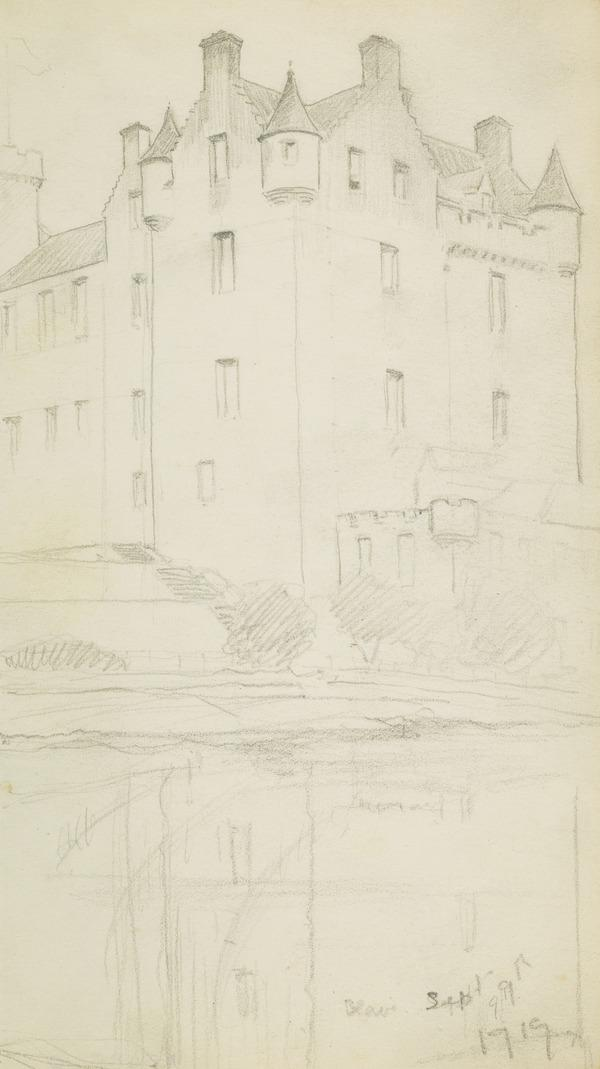Sketch of a building with turrets (1919)