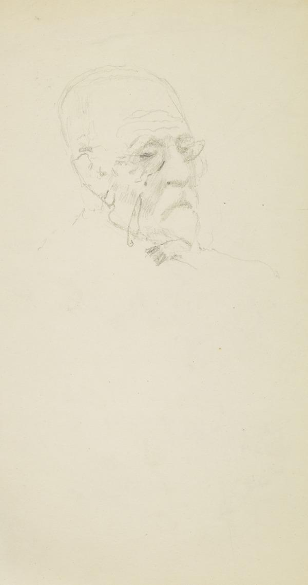 Head of an old man wearing spectacles
