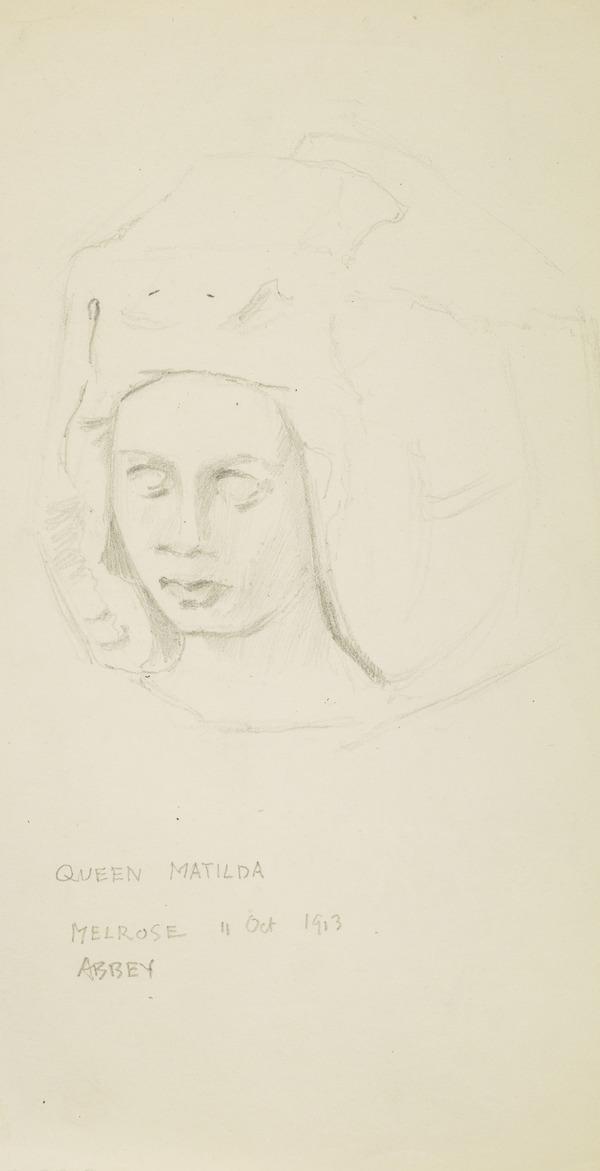 Sketch of Queen Matilda, Melrose Abbey (1913)