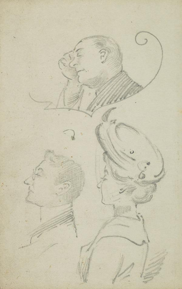 Three drawings of heads, including one of a woman wearing a hat