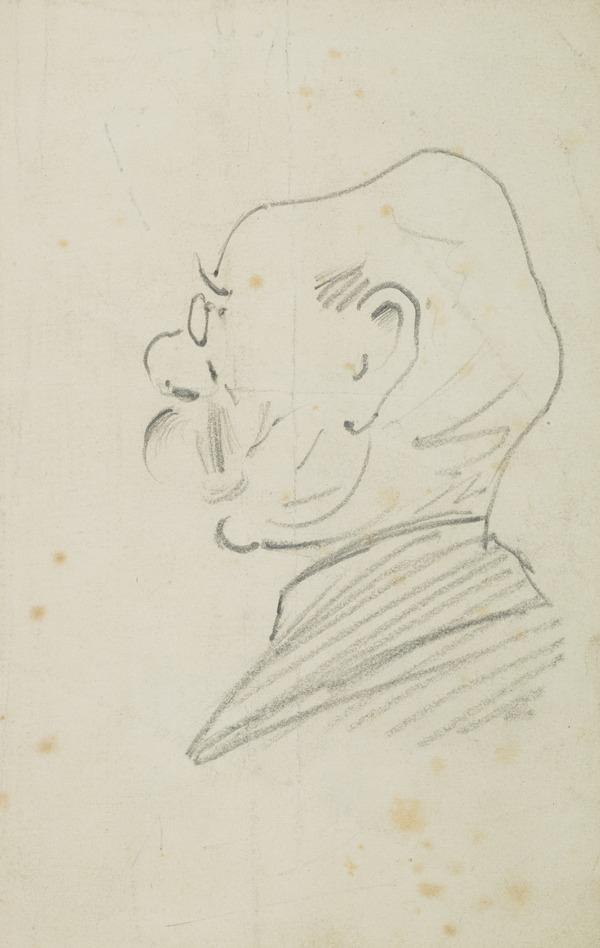 Drawing of a man wearing spectacles, facing left