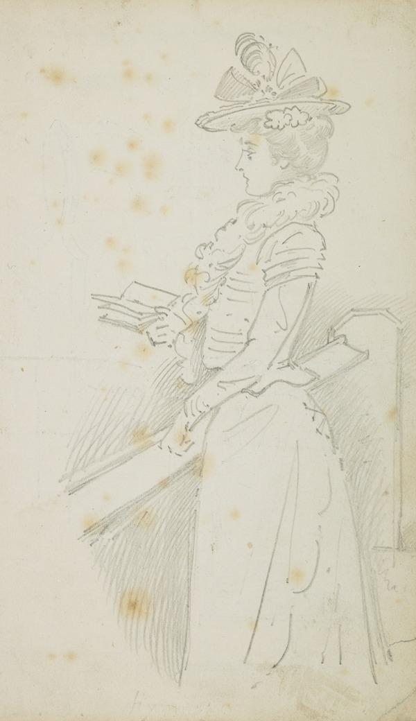 Woman standing, holding a book