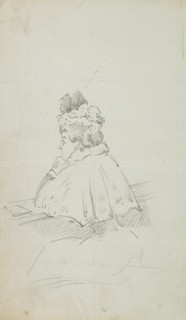 Seated woman with her elbows on a ledge