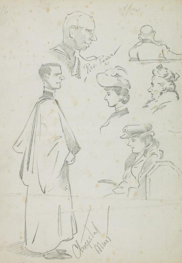 Several drawings of figures and heads