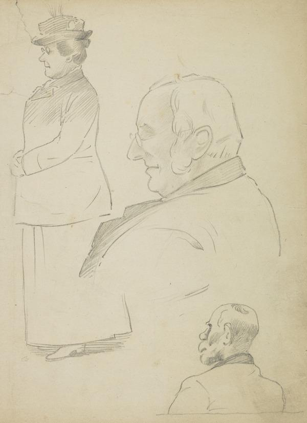 Woman standing and two men facing left