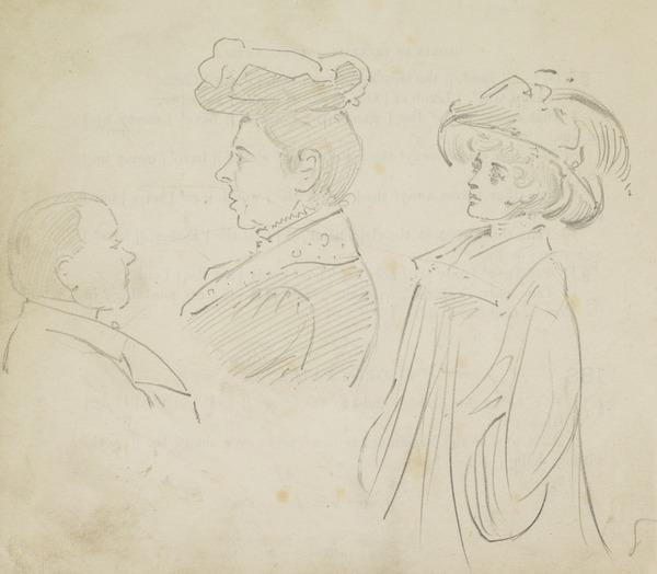 Two ladies wearing hats and a man in profile