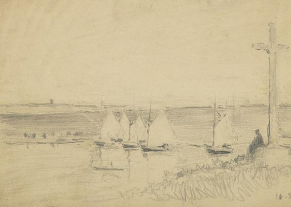 Figure sitting under a cross looking out to boats (1890)