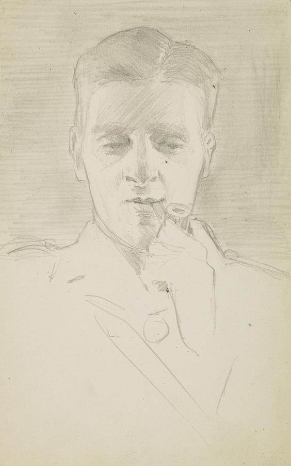 Man with a pipe in his mouth