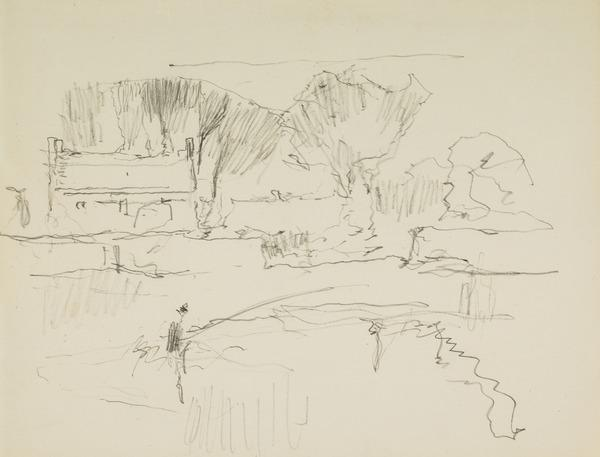 Landscape study with Angler (About 1928 - 1930)