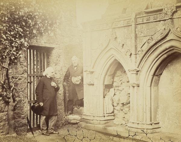 Melrose Abbey - arcaded wall and two figures.  (The figure on the left is Sir George Harvey P.R.S.A.  The other may be Sir Alexander Keith... (March - April 1866)