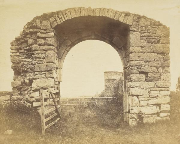Stone arch with open gate at Craigmillar ? (About 1860)