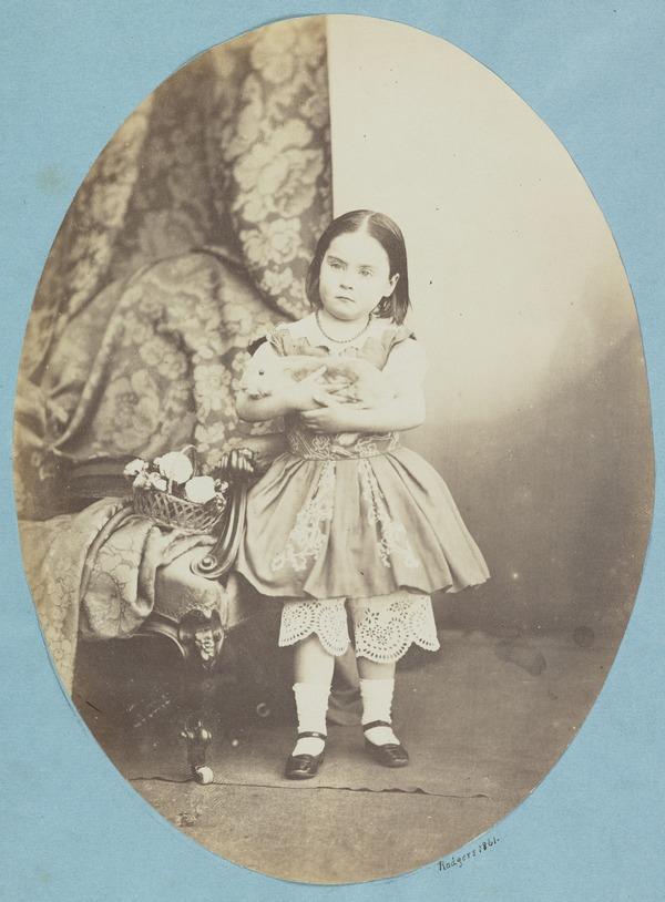 Esther Adamson with rabbit (1860)