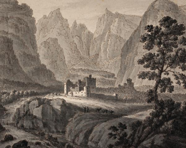 Landscape with Two Castles Surrounded by High Mountains - Two Herdsmen and Cattle in the Foreground (About 1780)