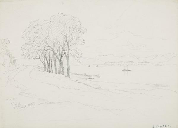 View by a Loch at Clough (Dated 1869)