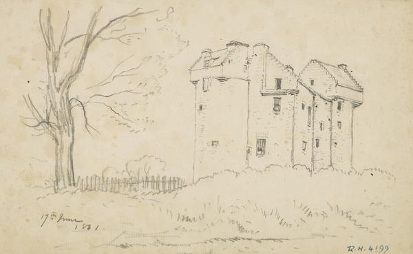 A Scottish Castle. Possibly Claypotts Castle (Dated June 17, 1861)