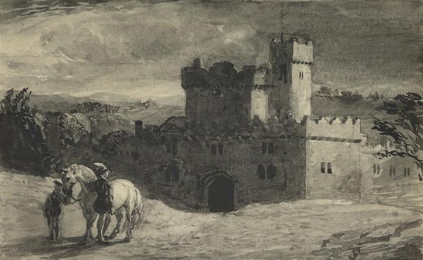 A Castle at Night, with a Dismounted Horseman and Page in the Foreground