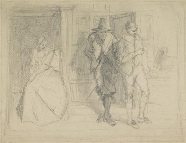 Sketch for a Cromwellian History Painting - Two Male Figures Entering a Door, with a Lady to the Left Sitting in an Alcove