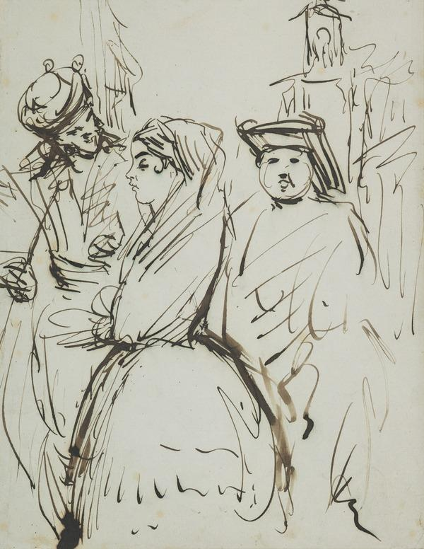Spanish Figures [Verso: Sketches of Heads]