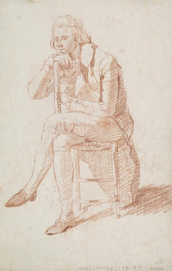 A Seated Man with his Arm Over the Back of a Chair [Verso: A Seated Man in Officer's Uniform] (About 1780 - 1786)