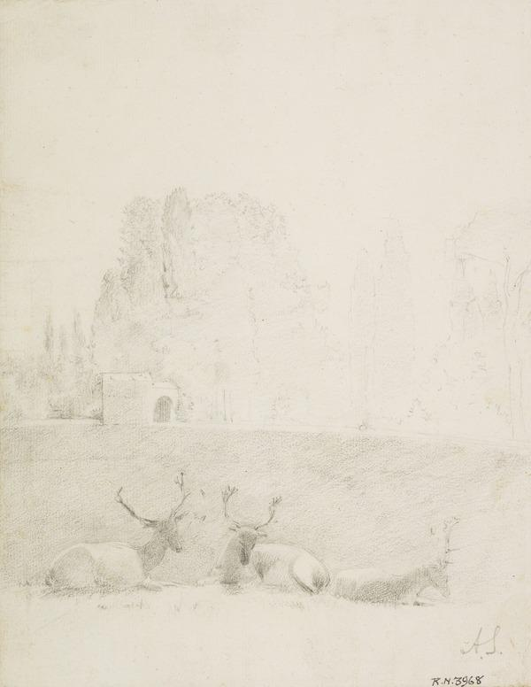 Landscape with Three Stags (About 1787 - 1794)