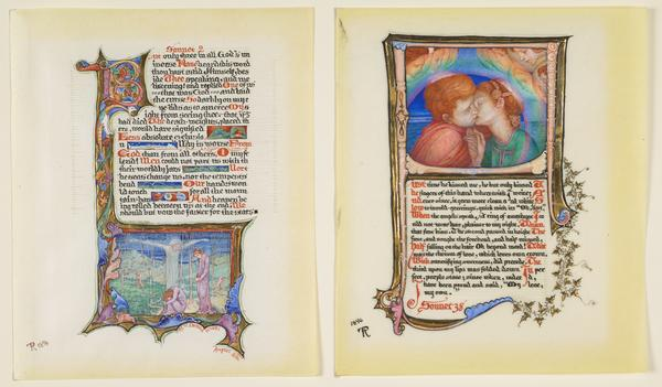 Two Pages, Illuminated, 'Sonnets from the Portuguese' by Elizabeth Barrett Browning (1894 - 1896)