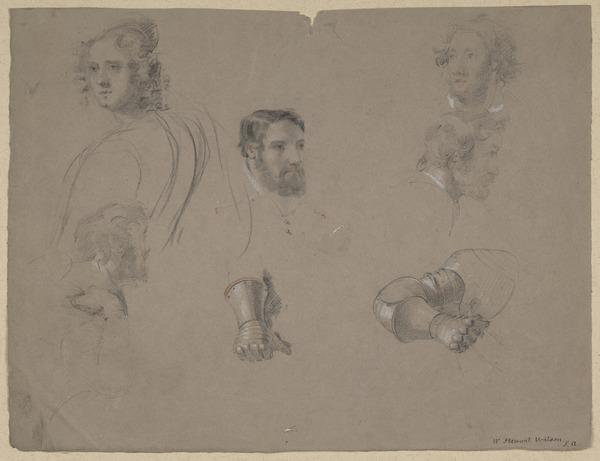 Studies of Male and Female Heads and Mailed Hands and Arms