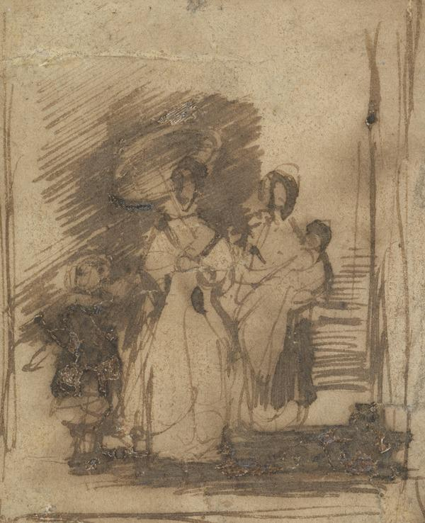 A Spanish Woman with her Children and a Nurse. Possibly a Study for the Painting 'The Spanish Girl and her Nurse' (About 1830)