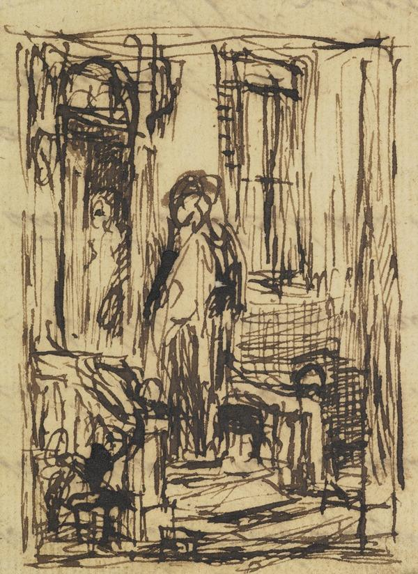Interior with Two Figures, One in an Open Door. Study for the Painting 'The Unwelcome Visitor'