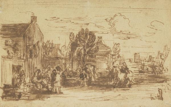 Scene Outside an Inn. Possibly a Study for the Painting 'Pitlessie Fair' (About 1804)