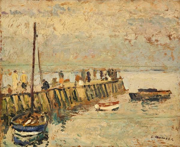 Figures on a Quay, Largo (About 1920 - 1925)