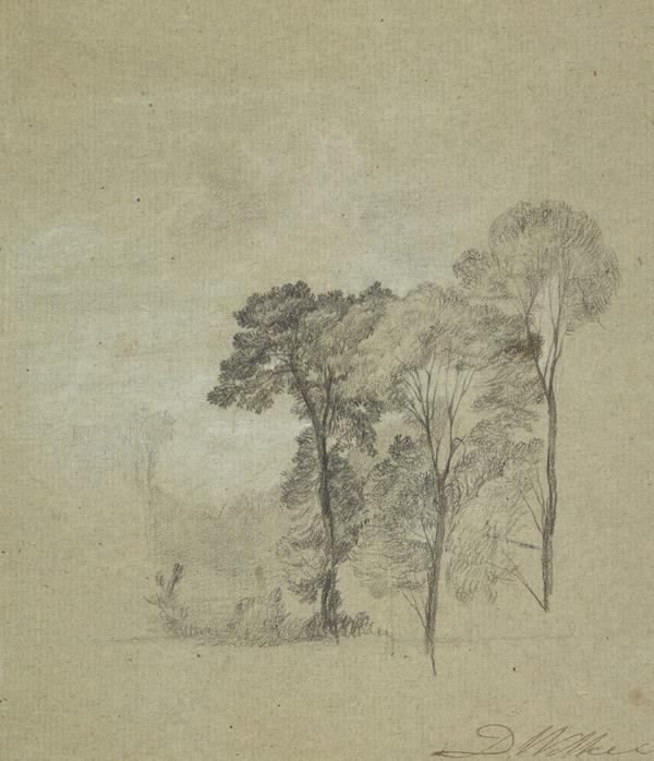 Study of Trees [Verso: Sketch of a Leg] (early 1810s)