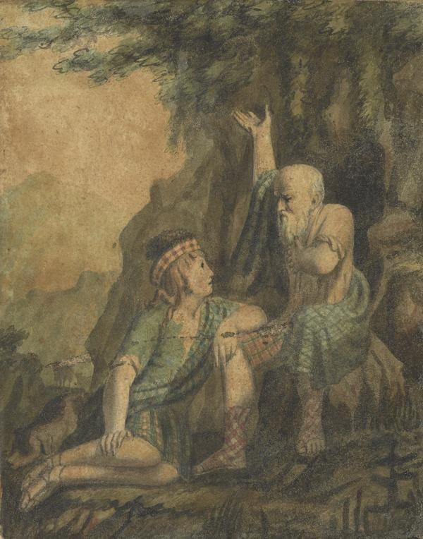 Old Man and Youth in Highland Dress. Illustration to Hume's play 'The Douglas'