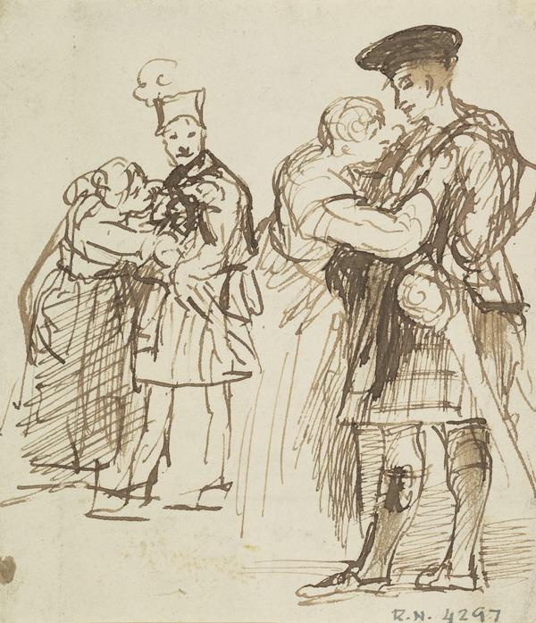 Two Highlanders Saying Farewell to their Women