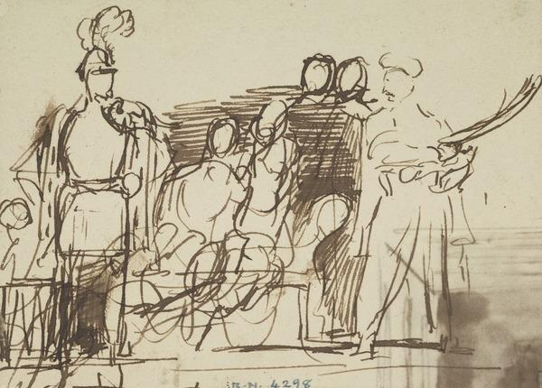 Officer with Plumed Helmet and Five Other Figures, Two Seated