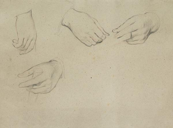 Study for the Hands of the Two Figures in the Painting 'The Letter of Introduction'
