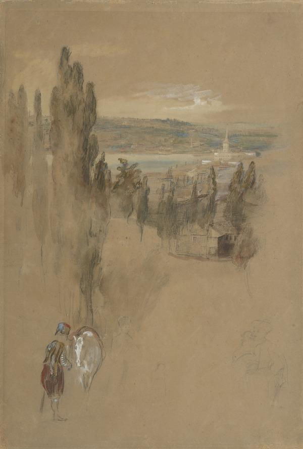 Sketch of Female Figures and a Horseman in an Eastern Landscape