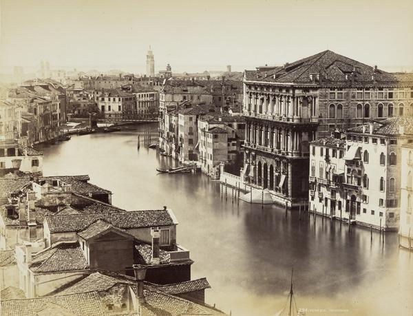 Aerial view over Grand Canal and rooftops (Part of a Panorama?) (1860s)