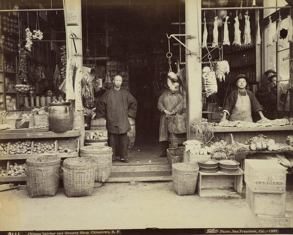 Chinese Butcher and Grocery Shop, Chinatown, San Francisco 1887 (1887)