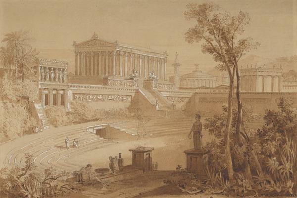 A Reconstruction of the Forum, Rome, as seen from the Mercati Traianei (Dated 1823)