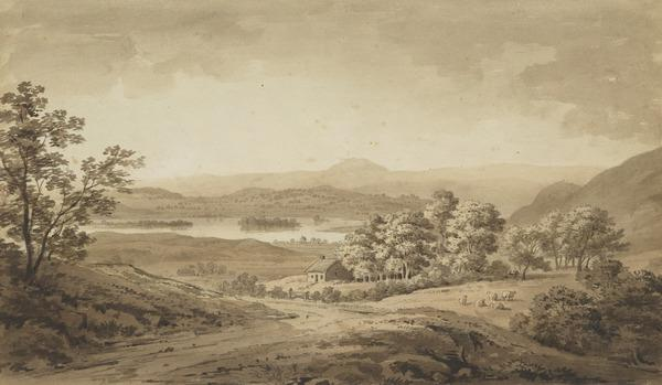 View near Loch Lomond [Verso: Sketch of a Building and Trees near a River]