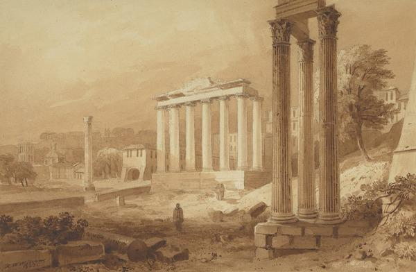 Temple of Saturn and Vespasian (Forum, Rome) (Dated 1823)