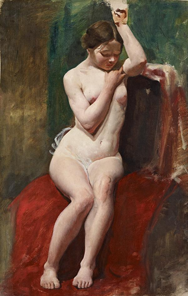 A Life Study of a Female Nude Model with her Left Arm Raised (1850s)