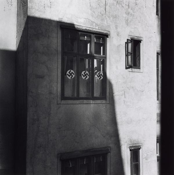 Untitled [Swastikas in shadow, Vienna] (About 1930 (negative))