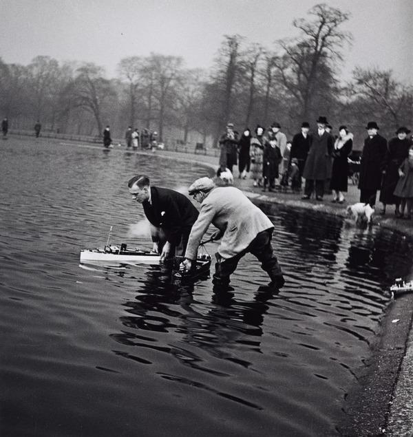 Untitled [Men with model boats] (About 1935 (negative))